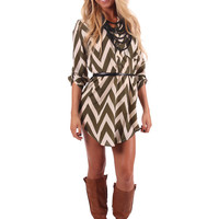 Olive Chevron Belted Dress or Top