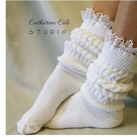 Cuddle Bunny sock / super -duper -thick - cuddly - cottony - slouchy sock. Great for working out or lounging around - Catherine Cole Studio