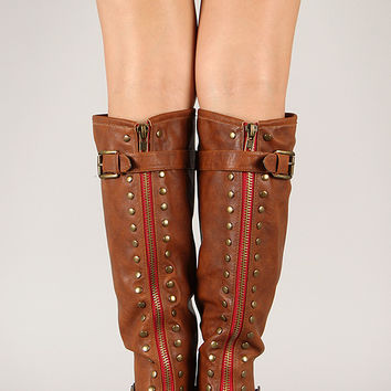 Bamboo Montage-83 Contrast Zipper Studded Riding Knee High Boot