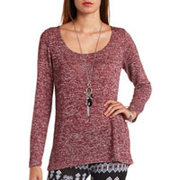 Caged Back Long Sleeve Tunic Top by Charlotte Russe - Burgundy
