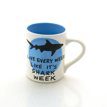 Shark week mug in ocean blue