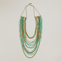 Mint and Turquoise Draped Bead Statement Necklace - World Market