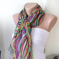 Rainbow Colors Cotton Long Scarf with wrinkle