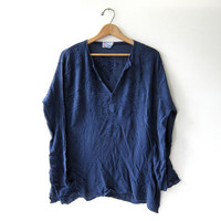 20% OFF SALE. vintage navy blue top. India shirt. Embroidered pullover.