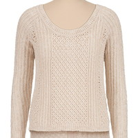 zip back open stitch sweater