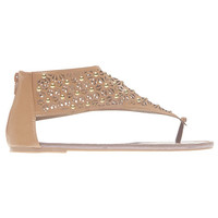 Studded Perforated V-Strap Sandals | Wet Seal