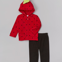 Red Dot Strawberry Zip-Up Hoodie & Pants - Infant | zulily