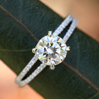 14k White gold - Diamond Engagement Ring - Halo at the base - UNIQUE - Pave - Bp022