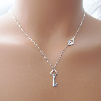 Lock And Key Necklace, Sterling Silver Key Charm Necklace, Lock And Key Jewelry