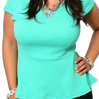 Mint Plus Size Trendy Cut Out Bow Fitted Knit Peplum Top