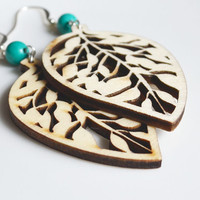 Christmas in July. Wood Leaf Earrings. Bohemian Nature Inspired. Turquoise Bead. Boho Wooden Jewelry.