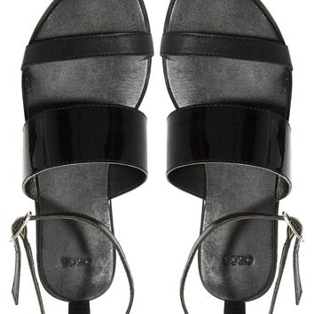 ASOS | ASOS FAIR AND SQUARE Leather Flat Sandals at ASOS