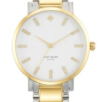 kate spade new york 'gramercy grande' crystal index two-tone bracelet watch, 38mm