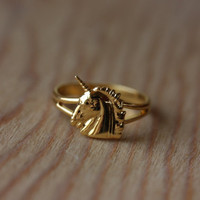 Small Gold Unicorn Ring
