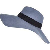 Light blue oversized fedora hat - hats - accessories - women