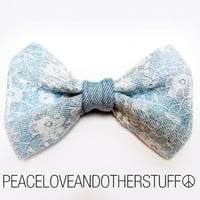 Handmade Vintage Denim &amp; Lace Hair Bow by PeaceLoveAndOtherStuff
