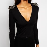 ASOS Crop Top with Deep Plunge and Spike Trim