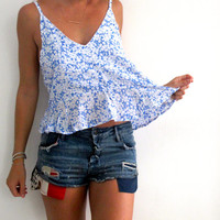 Blue Daisy Swing Top - Peplum Style Top, Scooped Back, Summer Shirt