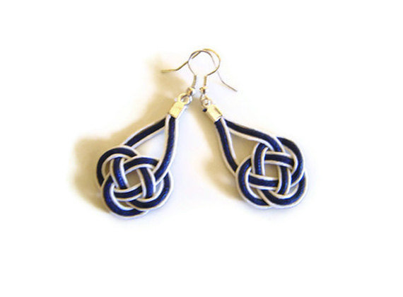 Nautical earrings, macrame, sailor knot, celtic knot, white & blue