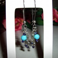 Swarovski Turquoise and Tanzanite Crystal Dangle Earrings