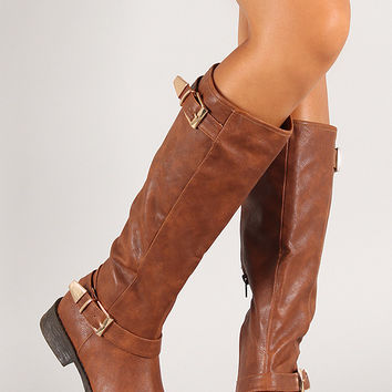 Bamboo Jagger-17 Facet Buckle Knee High Riding Boot