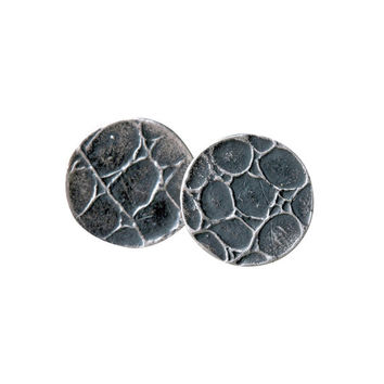 Recycled Silver Snakeskin Round Earring Studs