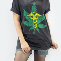 WEED Caduceus Hermes Greek Mercury Roman Staff Classic Rock Women T-Shirt Men T-Shirt Unisex T-Shirt Black Shirt Screen Print Shirt Size M