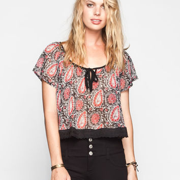 Lottie & Holly Flutter Sleeve Womens Crochet Trim Chiffon Top Coral Combo  In Sizes