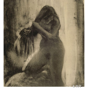 Femme, nue, se coiffant Giclee Print by Edgar Degas at Art.com