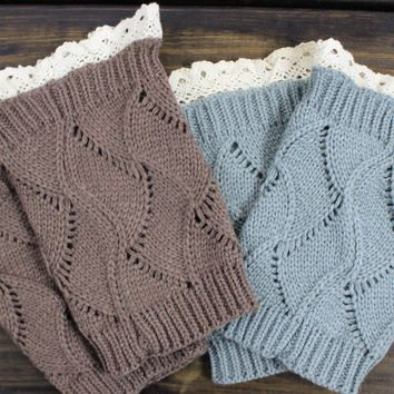 Grey Knitted Boot Cuffs, (2) Lacey Boot Toppers, Knitted Boot Socks, Warm Boot Topper, Lace trim Boot Cuffs, Knit Boot Cuffs, Lace Boot Toppers