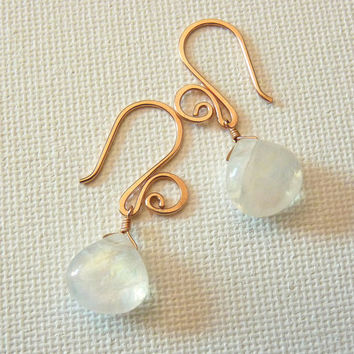 Rose gold and rainbow moonstone earrings - drop earrings - classic jewelry