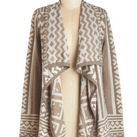 ModCloth Folk Art Mid-length Jetset in Motion Cardigan in Taupe