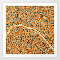 Paris Map Art Print by Jazzberry Blue