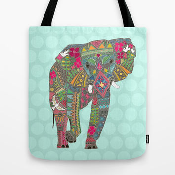 painted elephant aqua spot Tote Bag by Sharon Turner | Society6