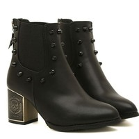 Metal Skull Thick High Heel Rivets Boots - Boots | RebelsMarket
