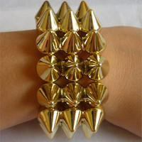Gold Spike Triple Studded Bracelet Jewellery Steampunk Punk Grunge