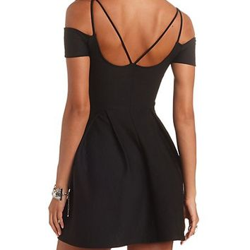 GEO-QUILTED STRAPPY OFF-THE-SHOULDER SKATER DRESS