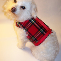RockinDogs Red Plaid Flannel Dog Harness for boys or girls