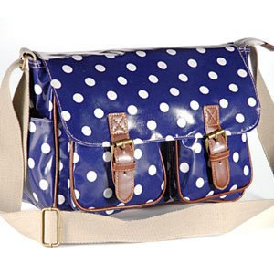 Blue Designer Oilcloth Polka dots Cross Body Saddle Bag Satchel Shoulder Messenger: Amazon.co.uk: Clothing
