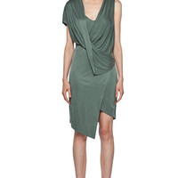 Helmut Lang | Shale Jersey Drape Dress in Pond www.FORWARDbyelysewalker.com