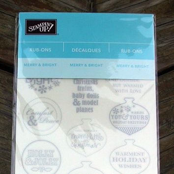 Stampin Up! Merry and Bright Rub-ons #116801 Silver Decals, Cardmaking