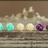 Flower Earring Studs Trio: Aqua Rose, Ivory Daisy, Indigo Rose Bud