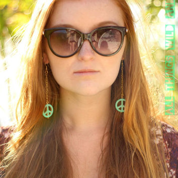 Boho Hippie Peace Sign Dangle Earrings
