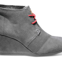 CHARCOAL SUEDE WOMEN'S DESERT WEDGES