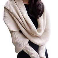 Women Solid Scarf with Sleeves Crochet Knit Long Soft Wrap Shawl Scarves (Beige)