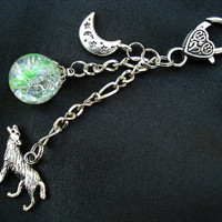 Wolf Moon Glass Charm Green Fried Marble Keychain