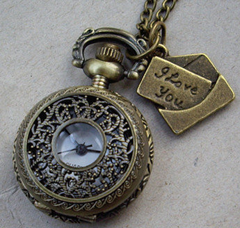 hollow flower Pocket watch Locket Necklace, with a lover letter