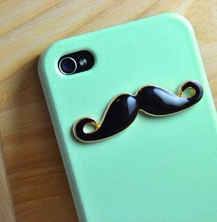 Black Mustache Light Green Iphone 4 Case, Iphone 4S case, Hard case, For Iphone 4, Iphone 4s