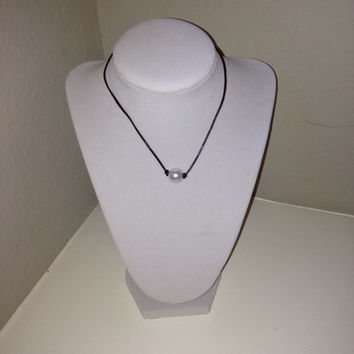 Knotted Leather Faux Pearl Necklace