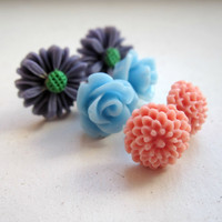 Flower Stud Earrings - Set - Bridesmaid Earrings - Gift - Small Post Earrings - Periwinkle Blue - Rose Pink - Dark Mauve